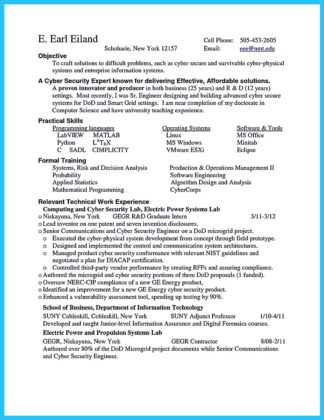 cyber security internship resume