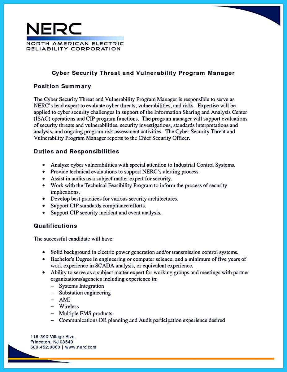 cyber security manager resume