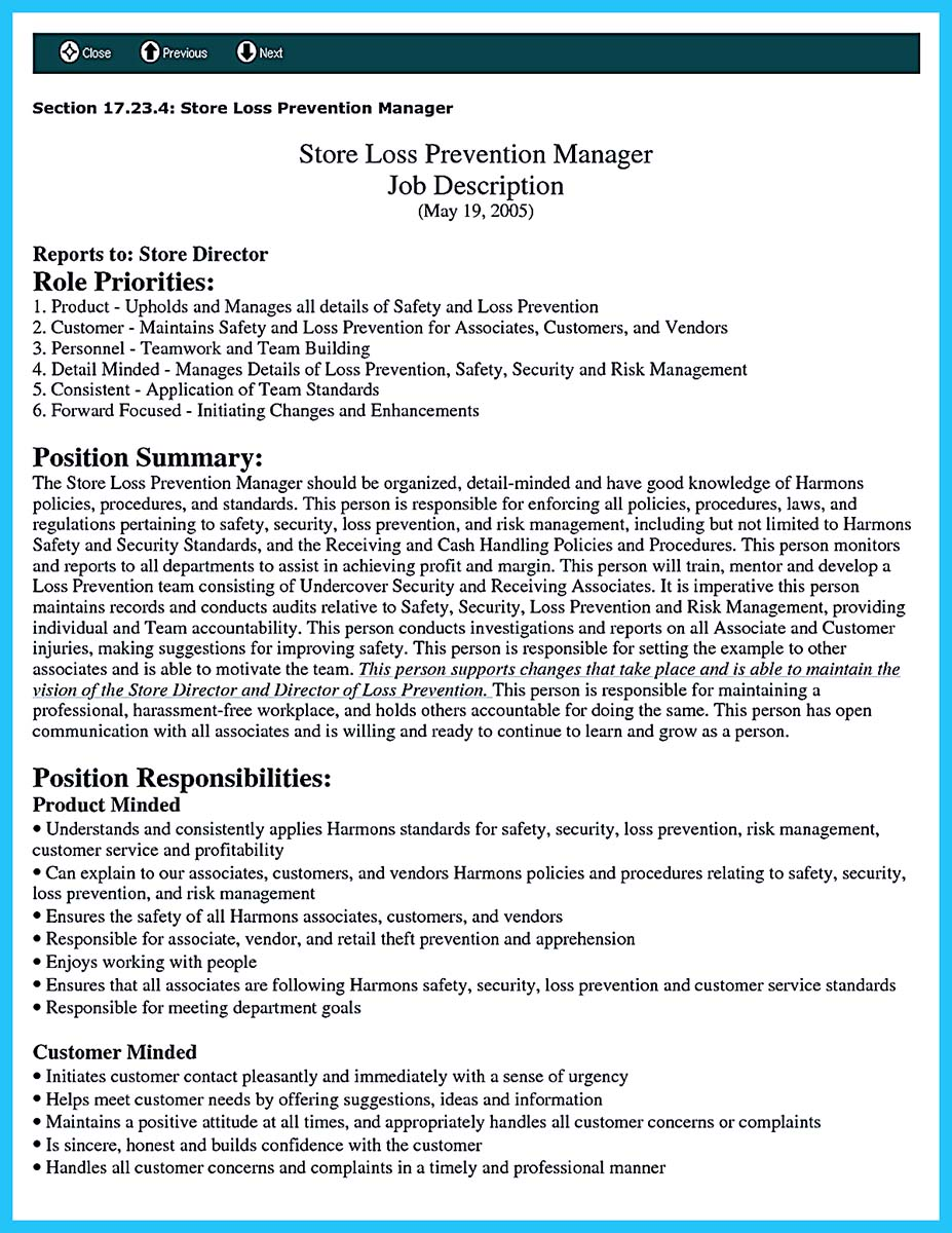 Loss prevention resume