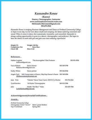 The Best And Impressive Dance Resume Examples Collections  How To