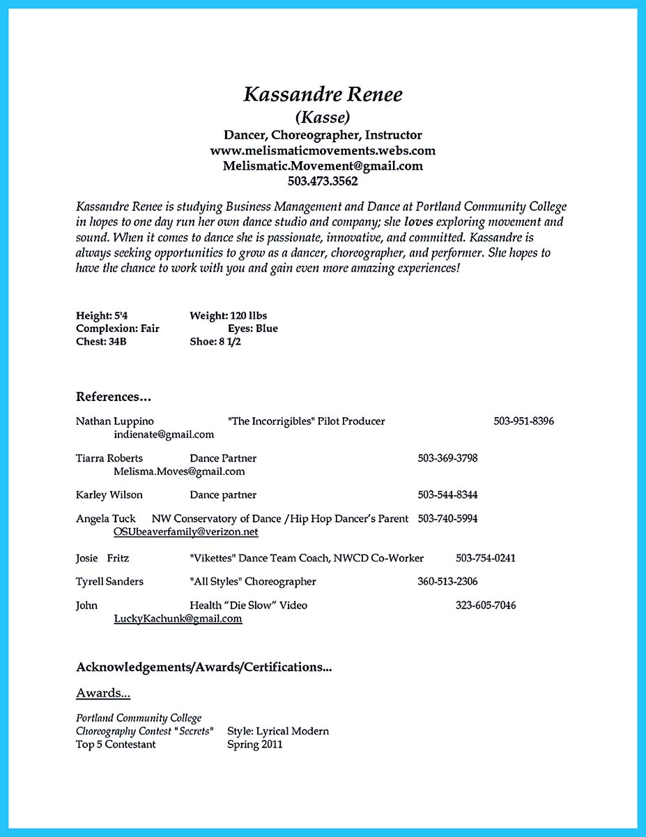 Awesome Collection Of College Audition Resume Format Charming Dance