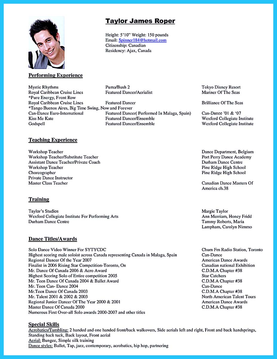 The Best and Impressive Dance Resume Examples Collections – Dance Resume