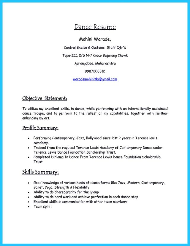 dance resume for a child