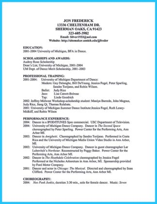 dance resume examples collections how to write a resume in simple