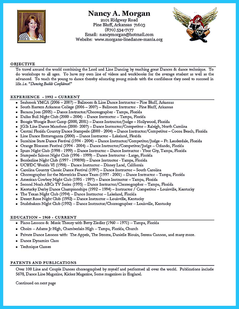 the best and impressive dance resume examples collections how to dance resume layout