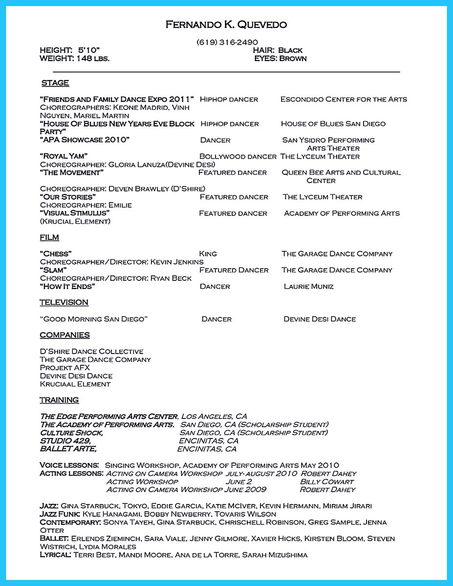Dance Resumes Dance Audition Resumes Template Dance Resume Template