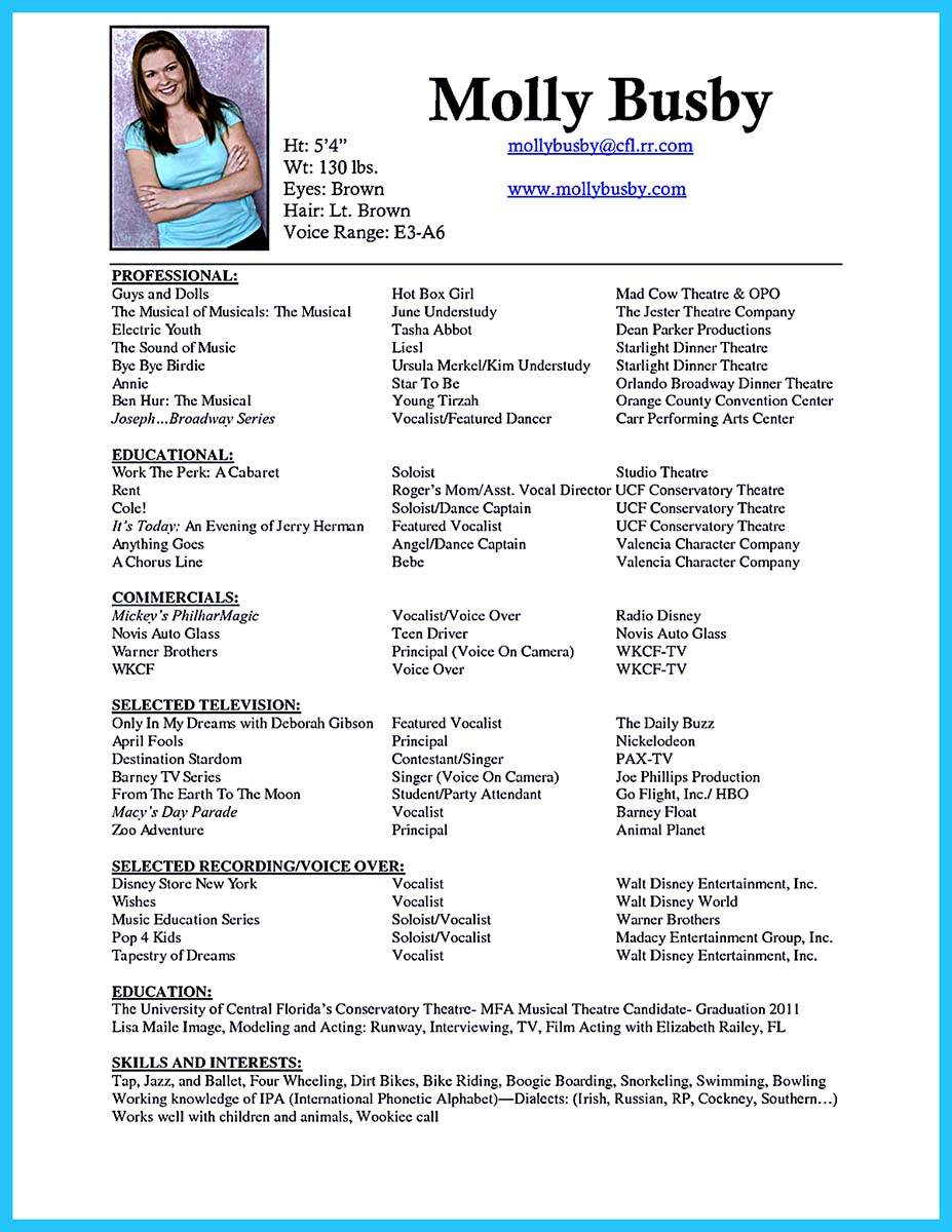 special skills in resume samples - the best and impressive dance resume examples collections