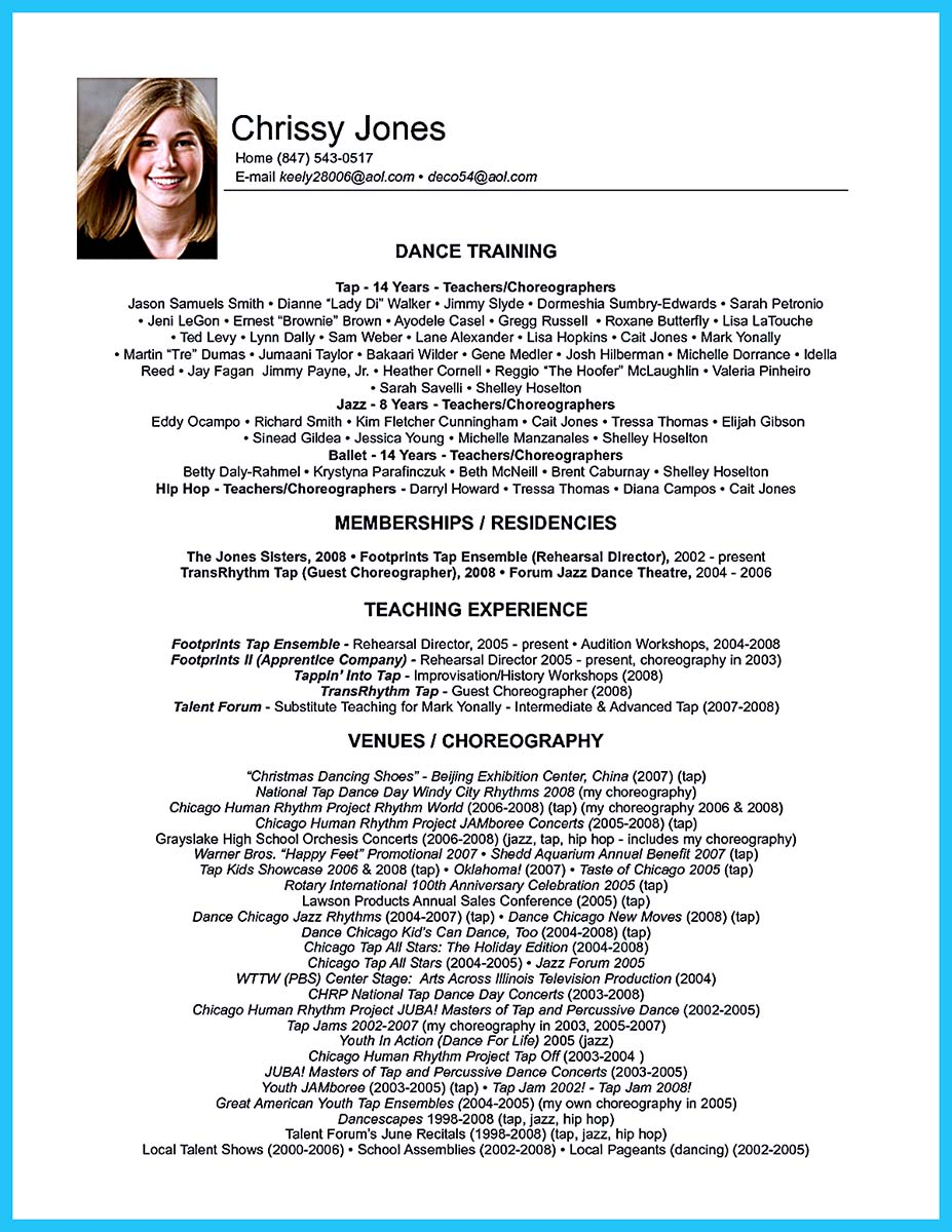 dance resume template microsoft word