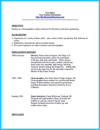 Dance Resume For College Resume Template For Warehouse Worker . 10 ...