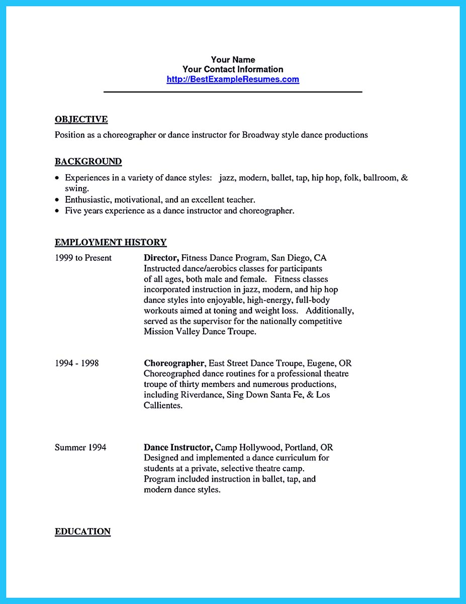dance resume tips