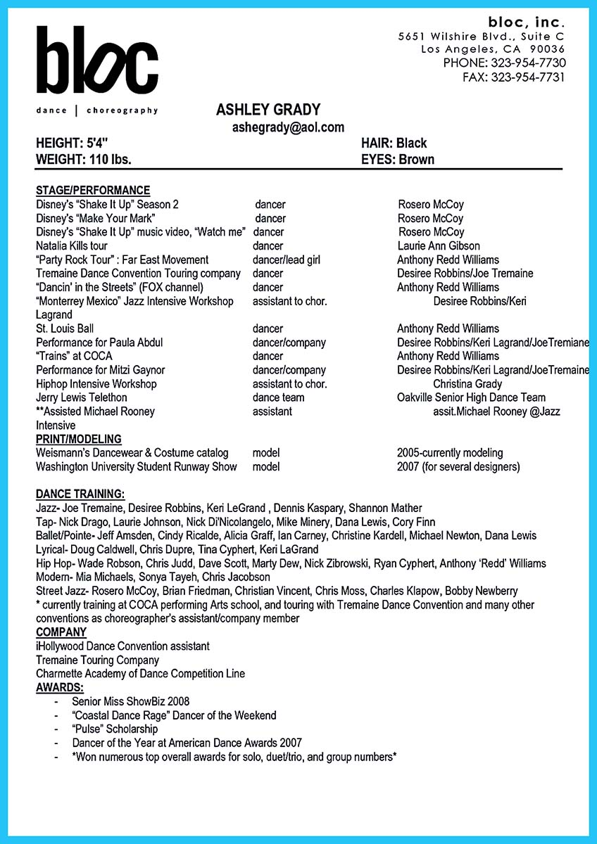 dance resume with no experience