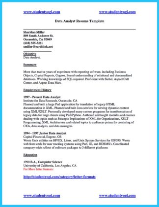 data analyst resume and cover letter