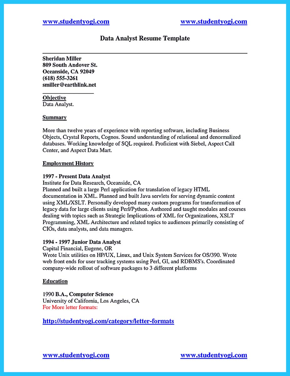 Sample Resume For Data Analyst