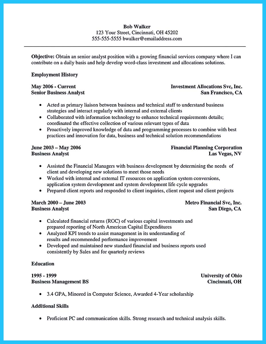 Resume For Data Analyst