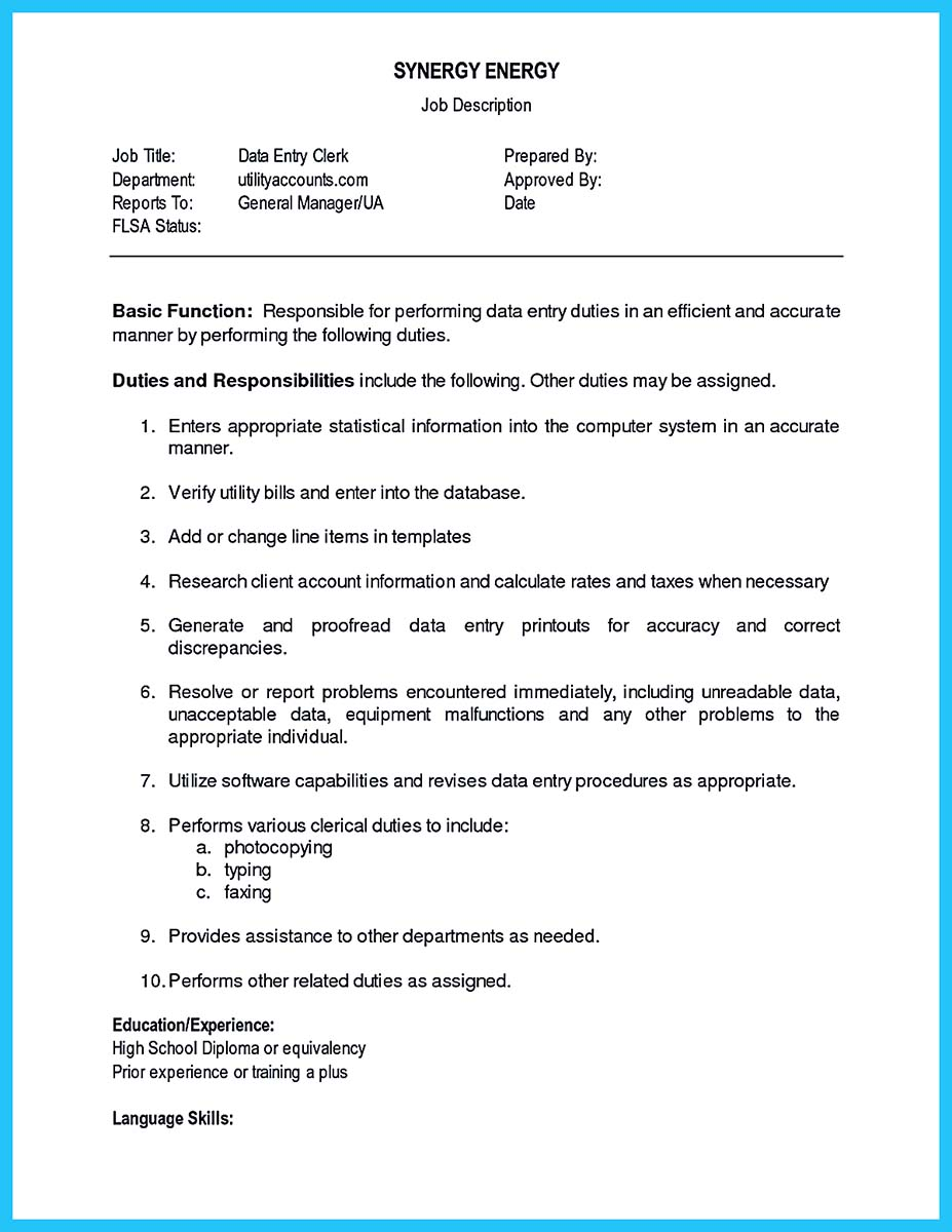 data entry resume
