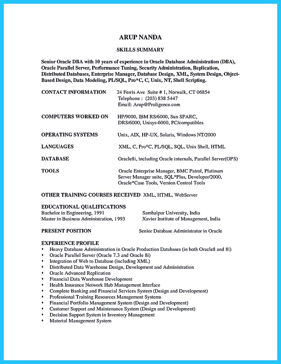 database administrator resume cover letter