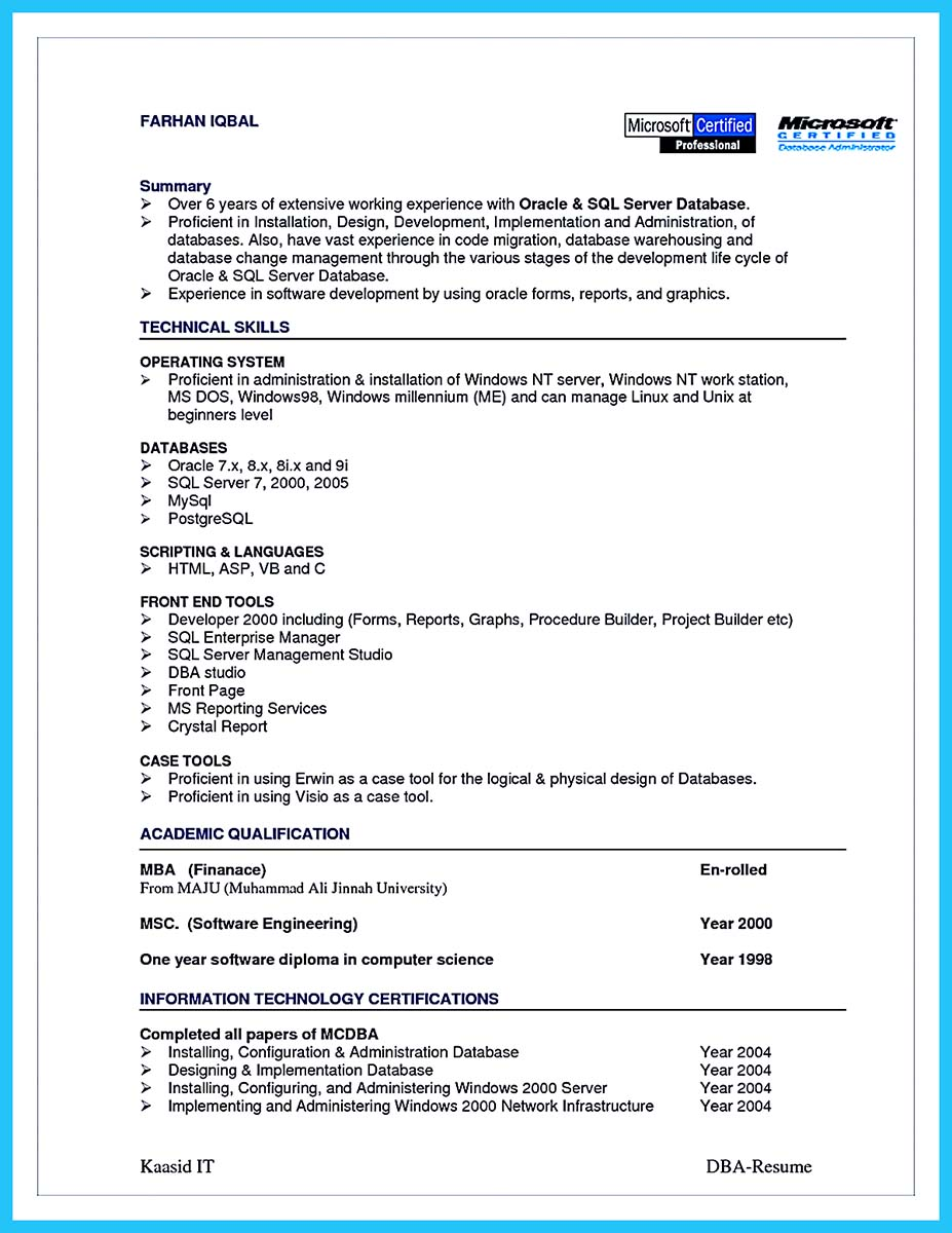 high impact database administrator resume to get noticed easily database administrator resume entry level database administrator resume entry level