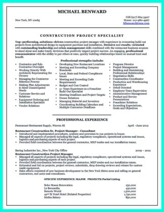 design and construction project manager resume