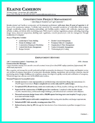 electrical construction project manager resume sample