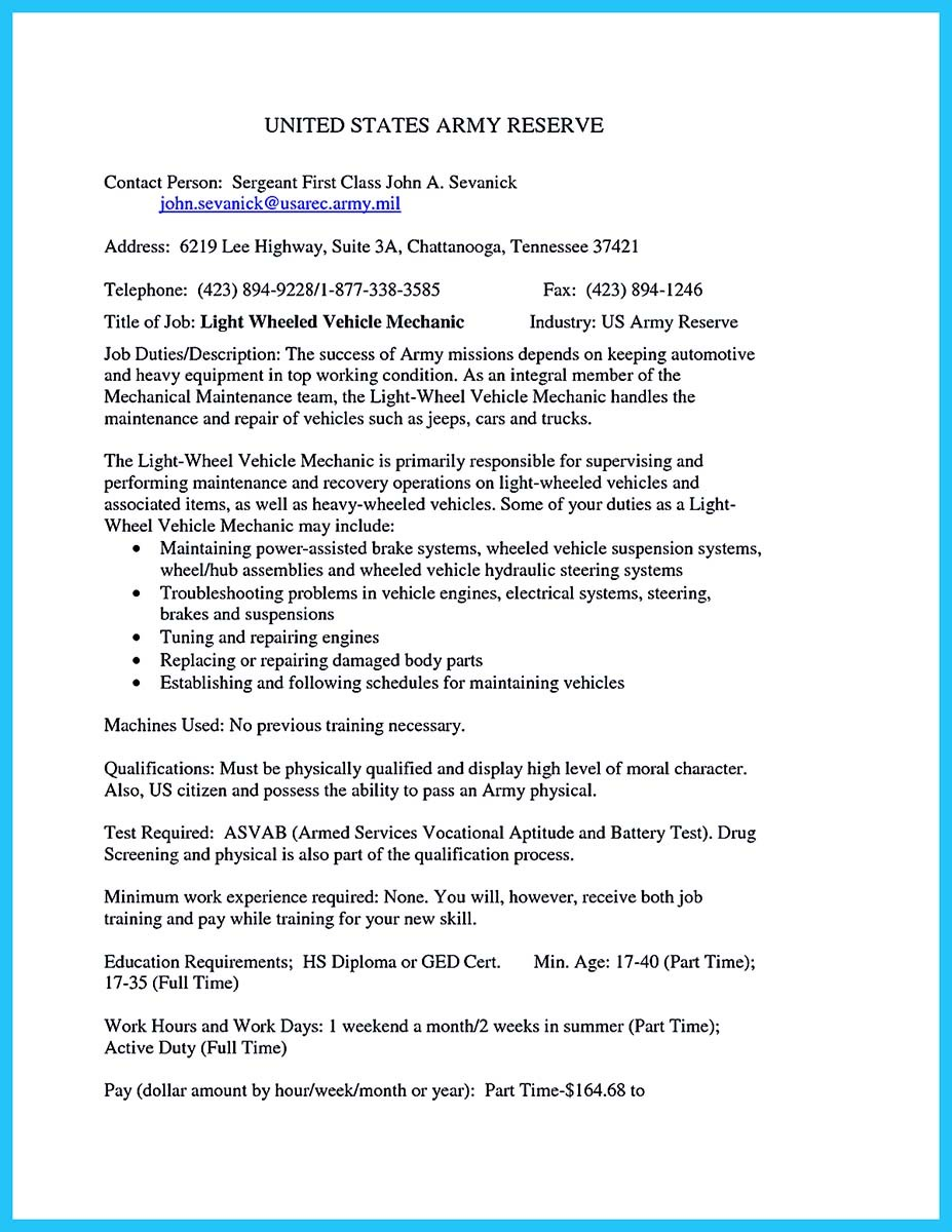 example of a auto mechanic resume