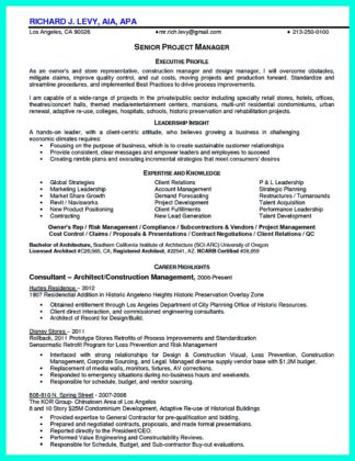 example of a construction manager resume