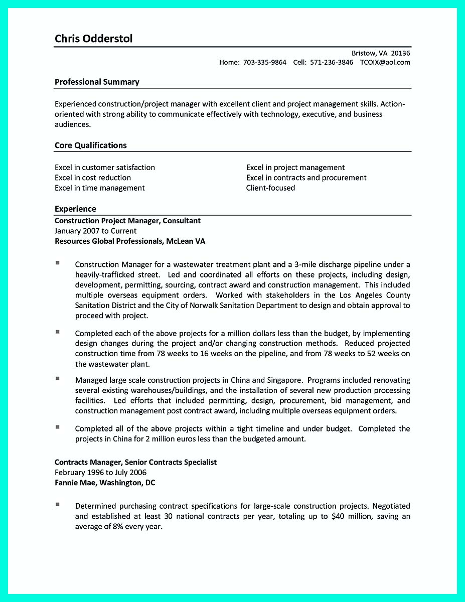 example of a construction project manager resume