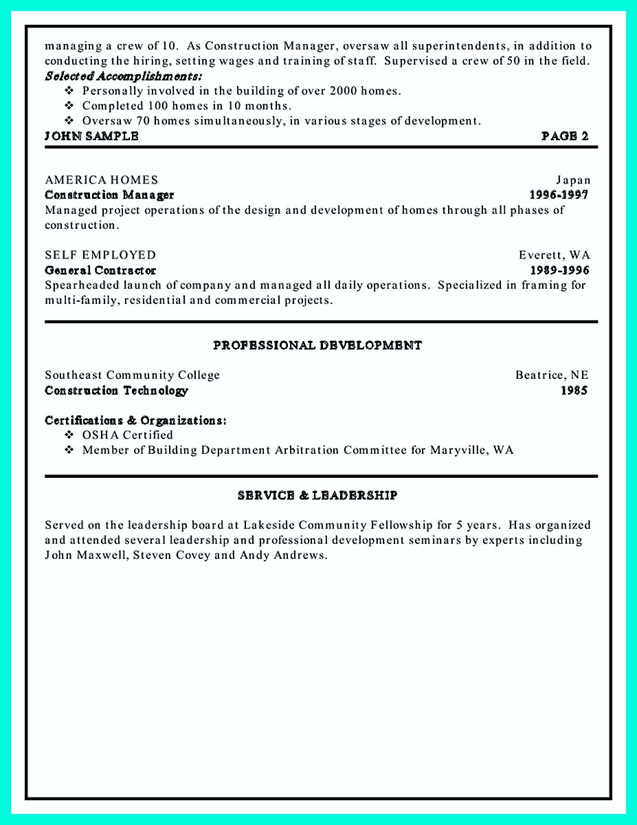example of construction management resume