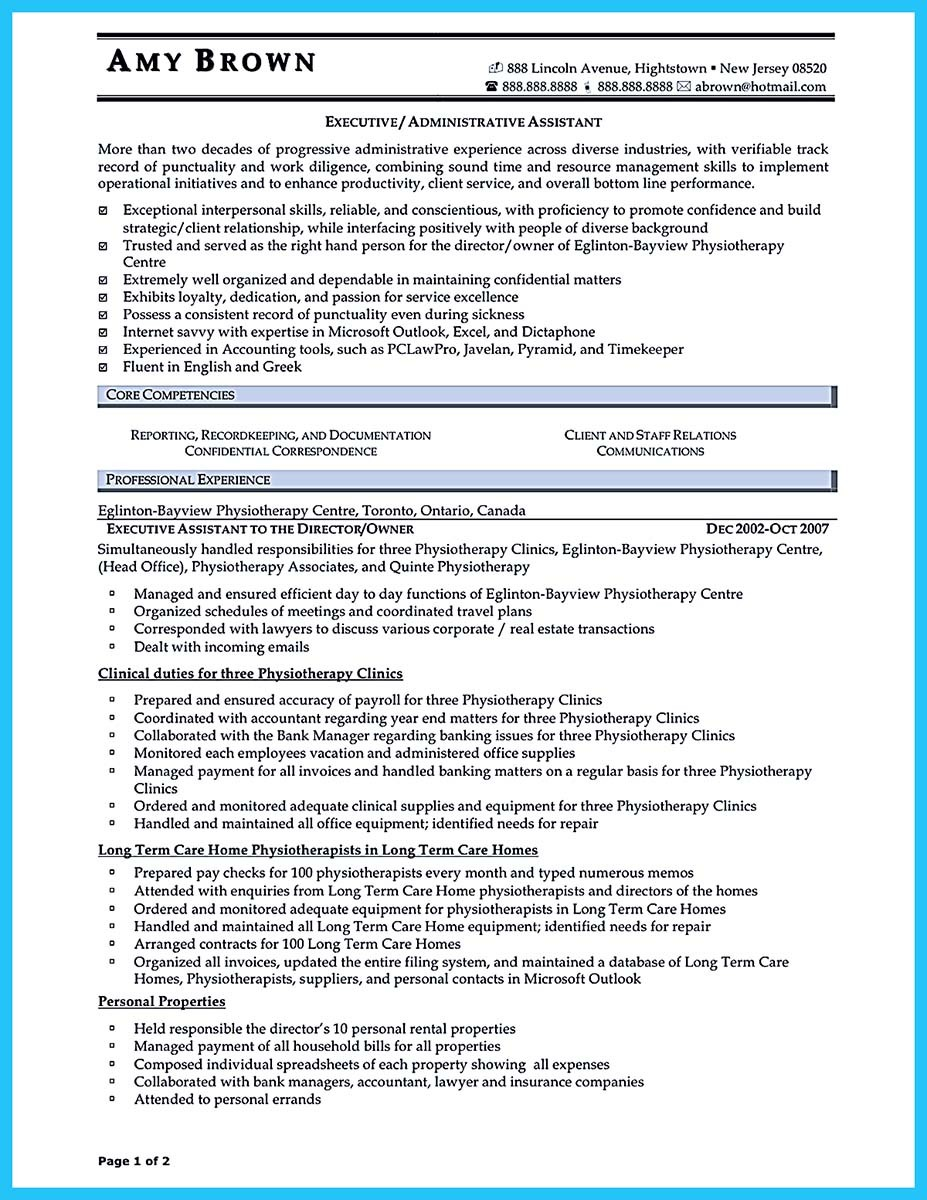 executive-administrative-istant-resume-sample Sample Administrative Istant Resume Format on medical office, clerical office, assistant highlight,