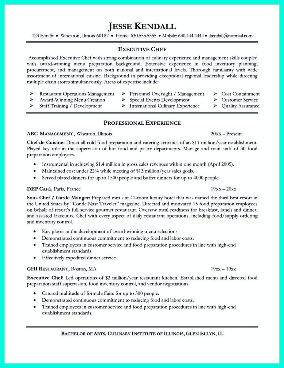 executive chef resume objective and chef resume templates microsoft word