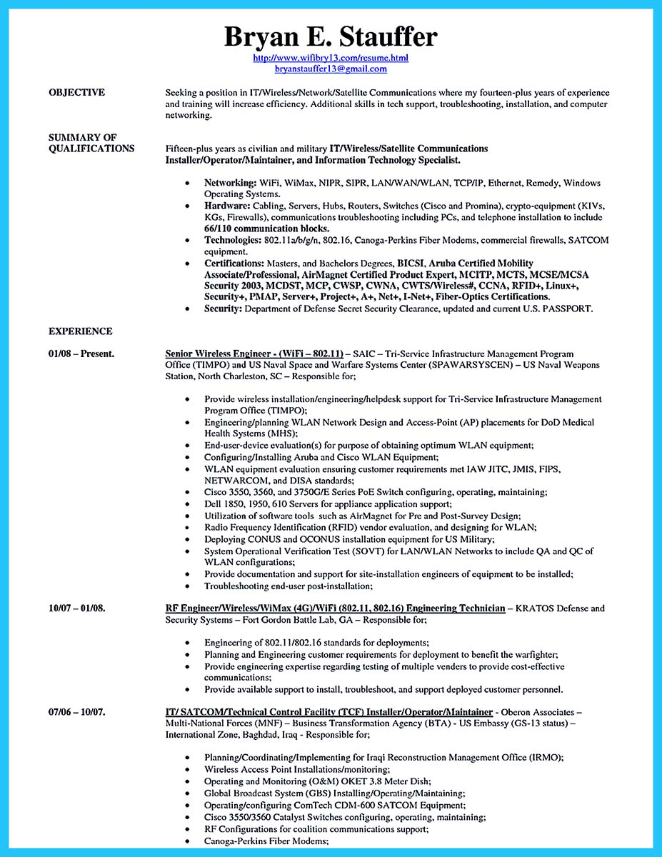 fiber optic cable technician resume