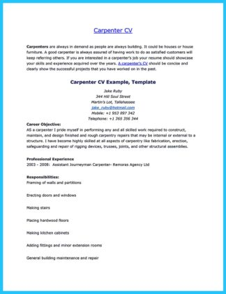 finish carpenter resume objective