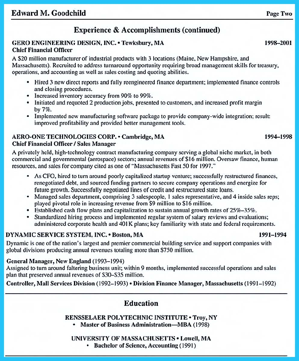 fox business school resume template