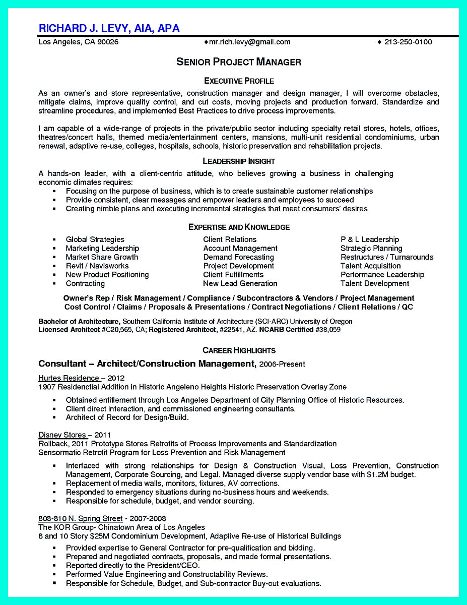 free construction management resume samples