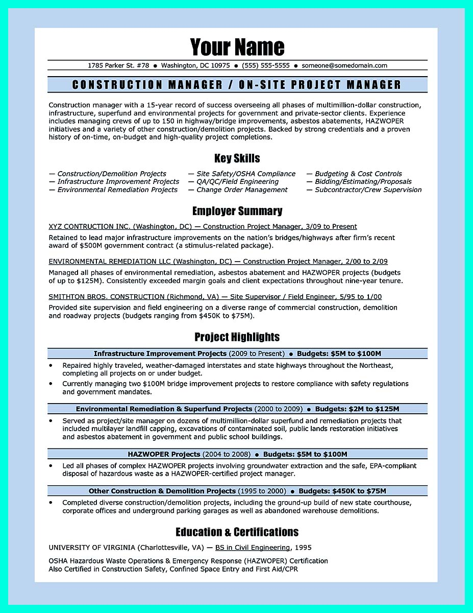 free construction management resume templates
