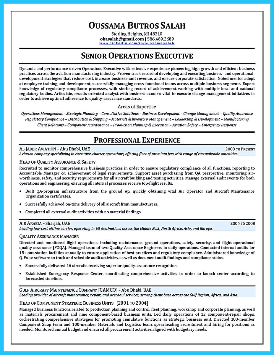general aviation resume