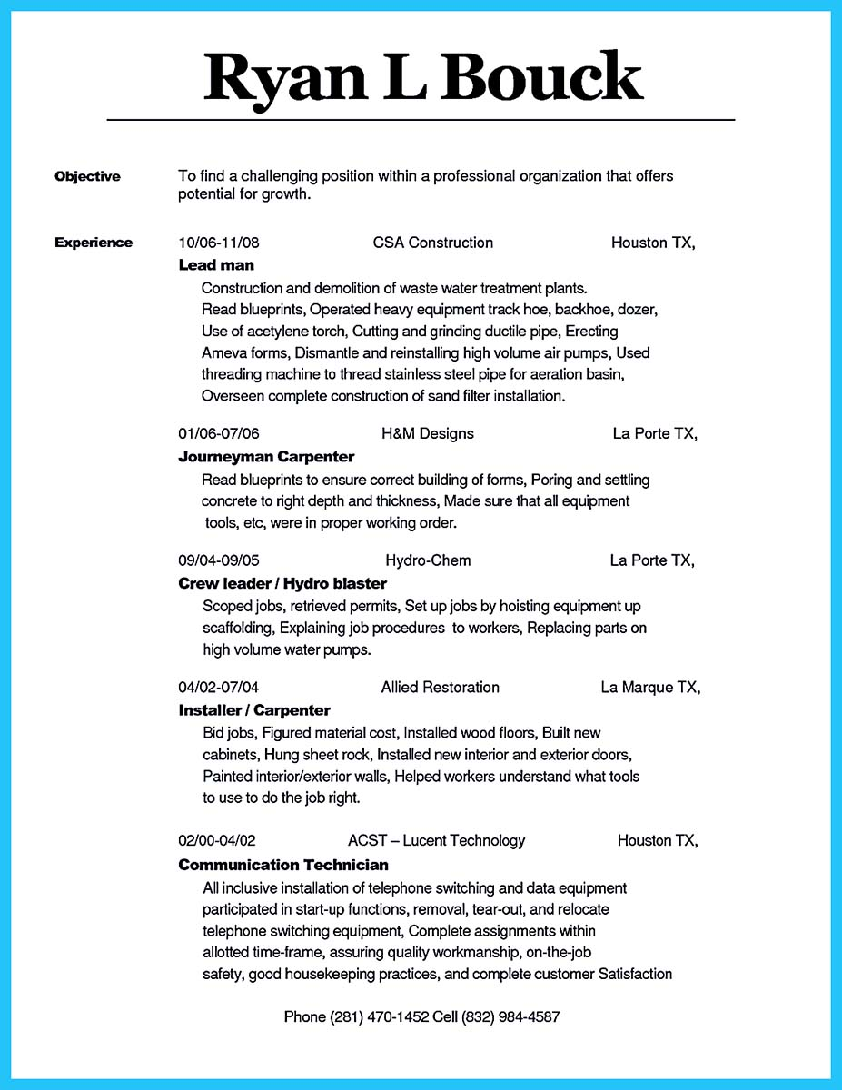 resume carpenter resume environmental consultant cover letter - Carpenter Resume Objective