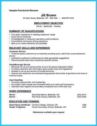 good bartending resume and bartending resume samples with no experience
