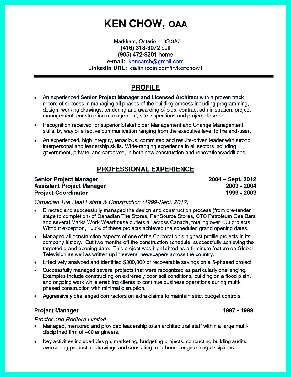 good objective for construction management resume