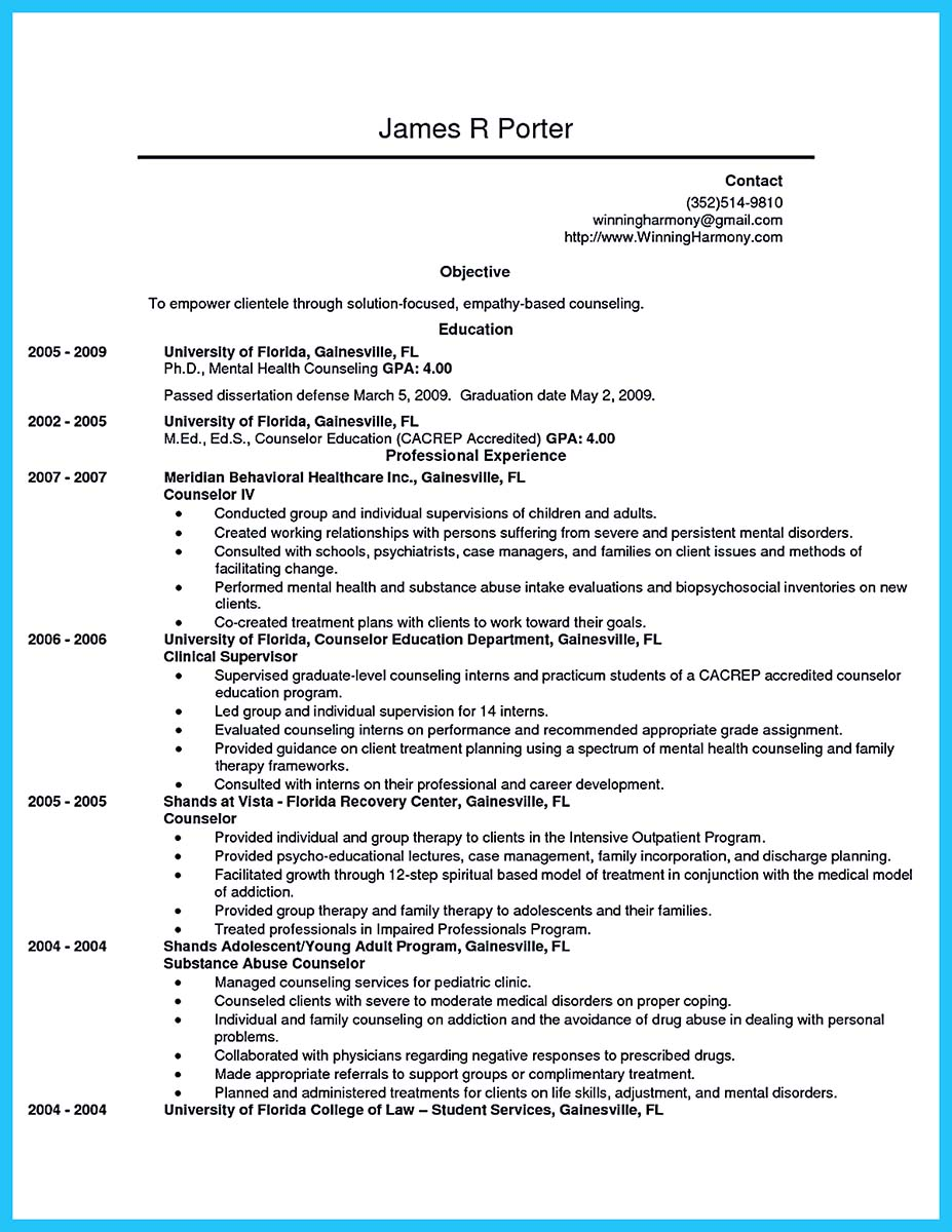 guidance counseling resume