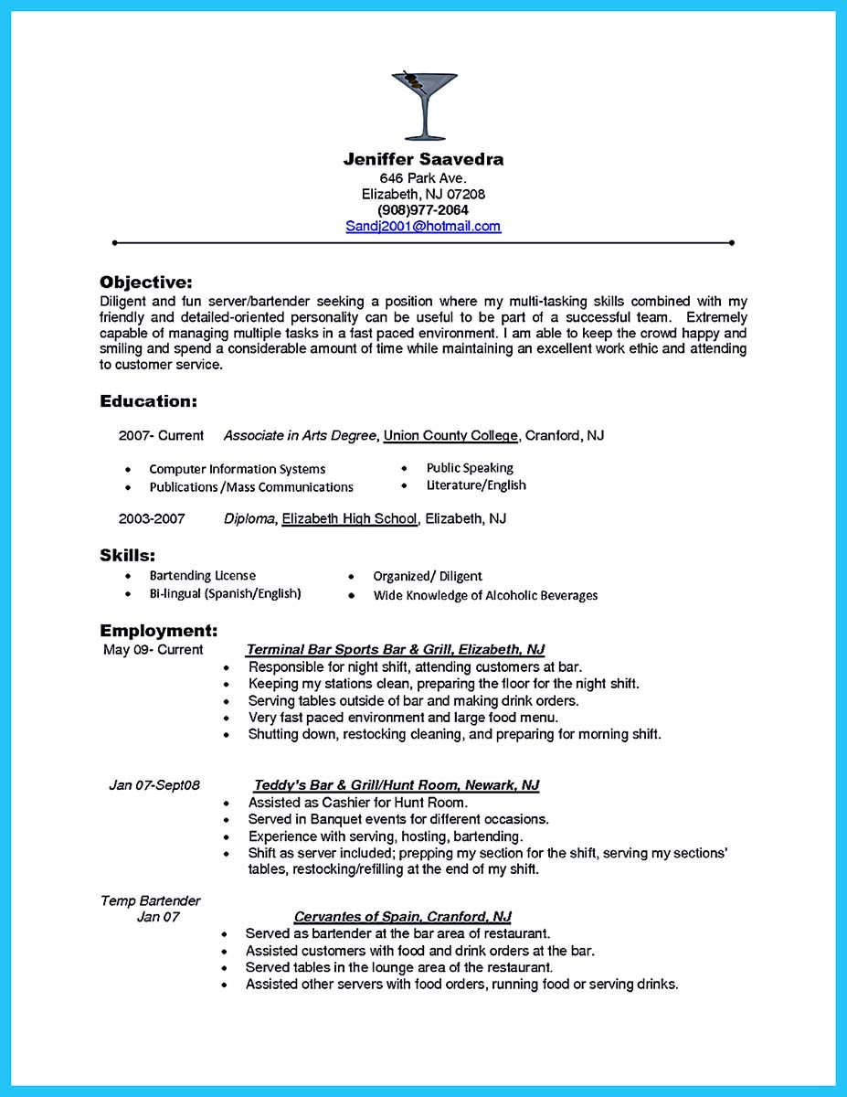 sample head bartender resume skills