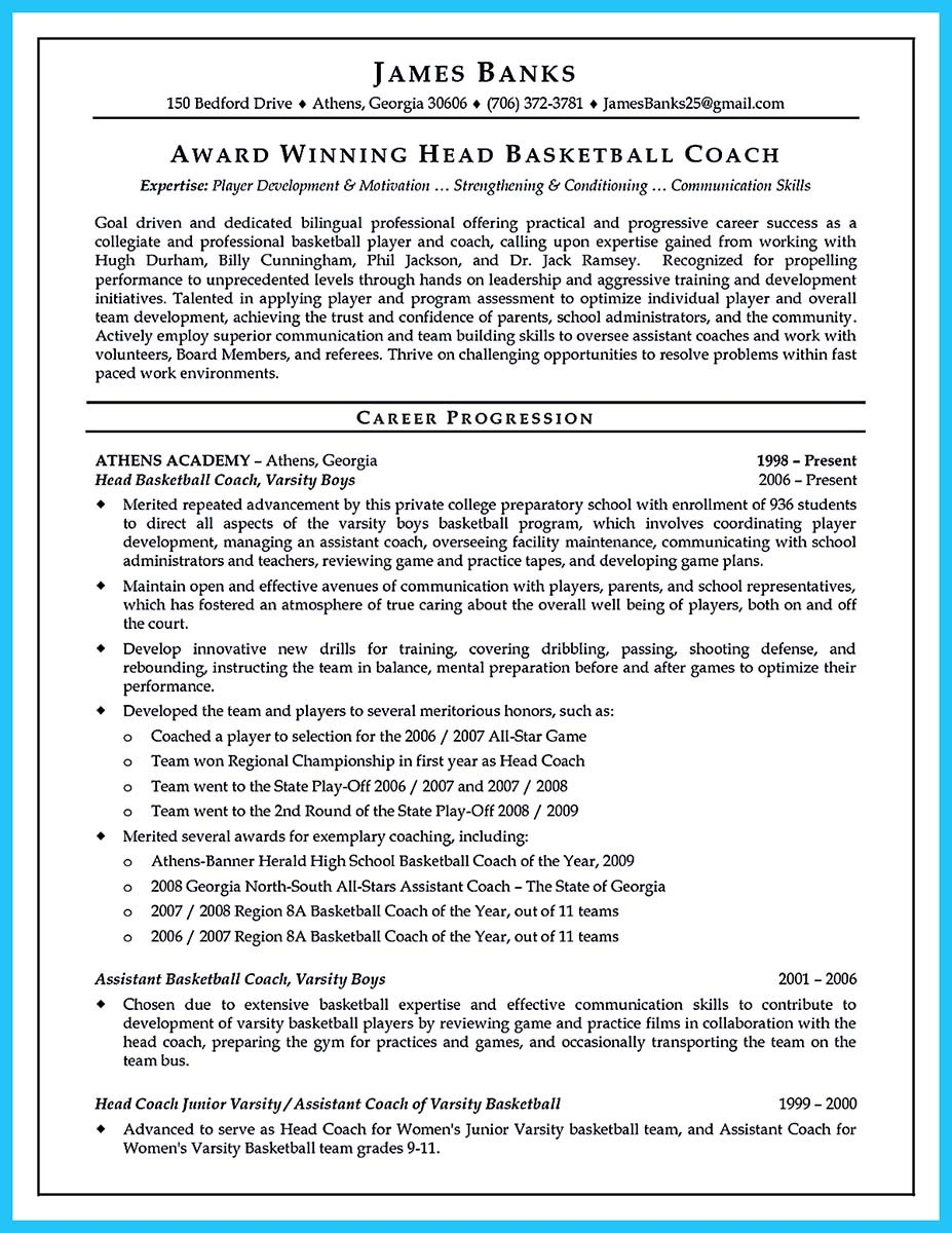 head basketball coach resume examples and assistant basketball coach responsibilities resume