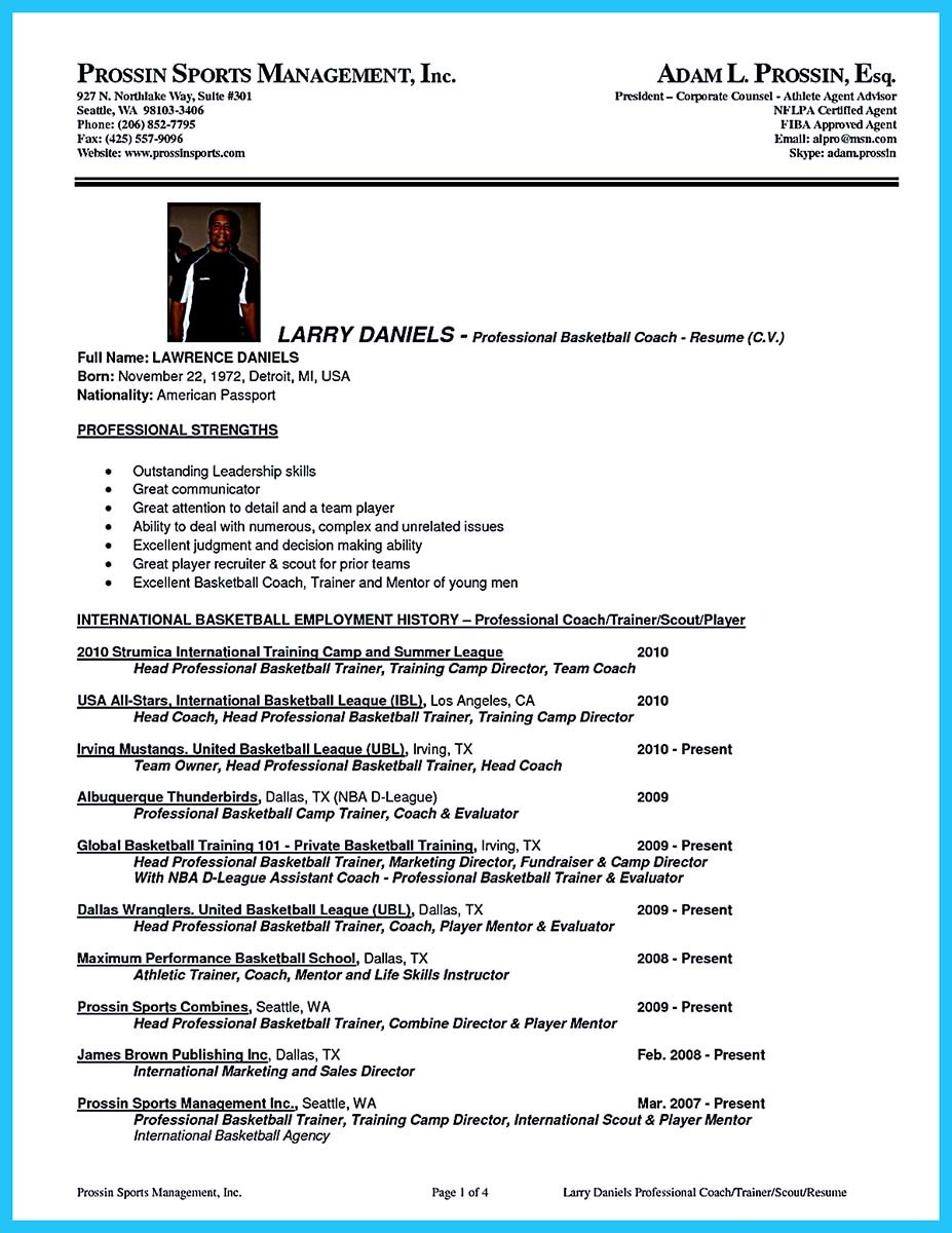 College Basketball Coach Resume Example