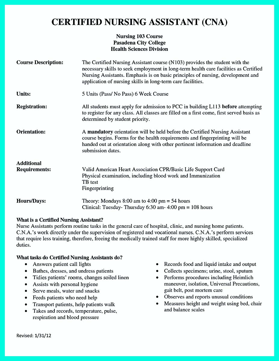 Certified Nursing Assistant Job Description Hospital Best