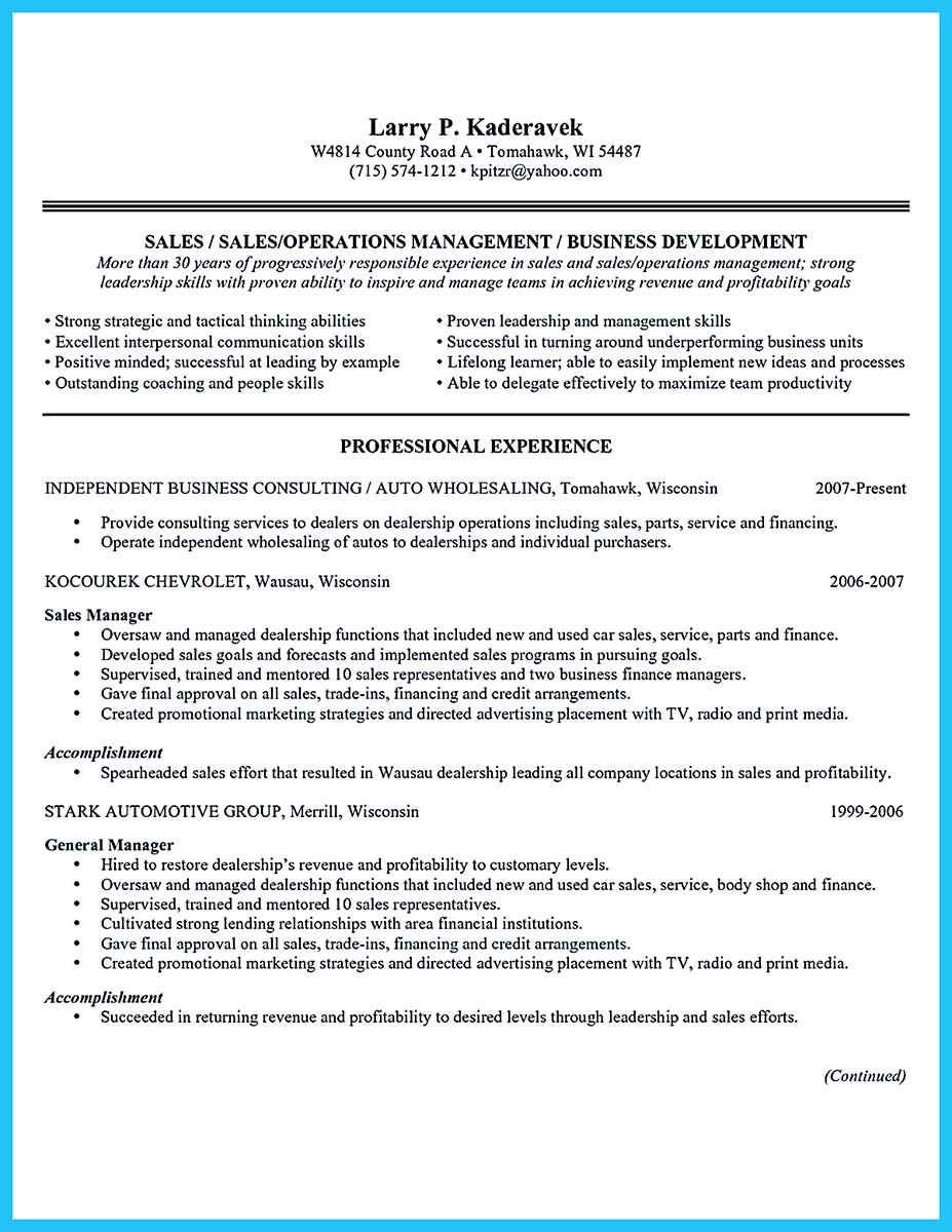 Resume cover letter for car salesman