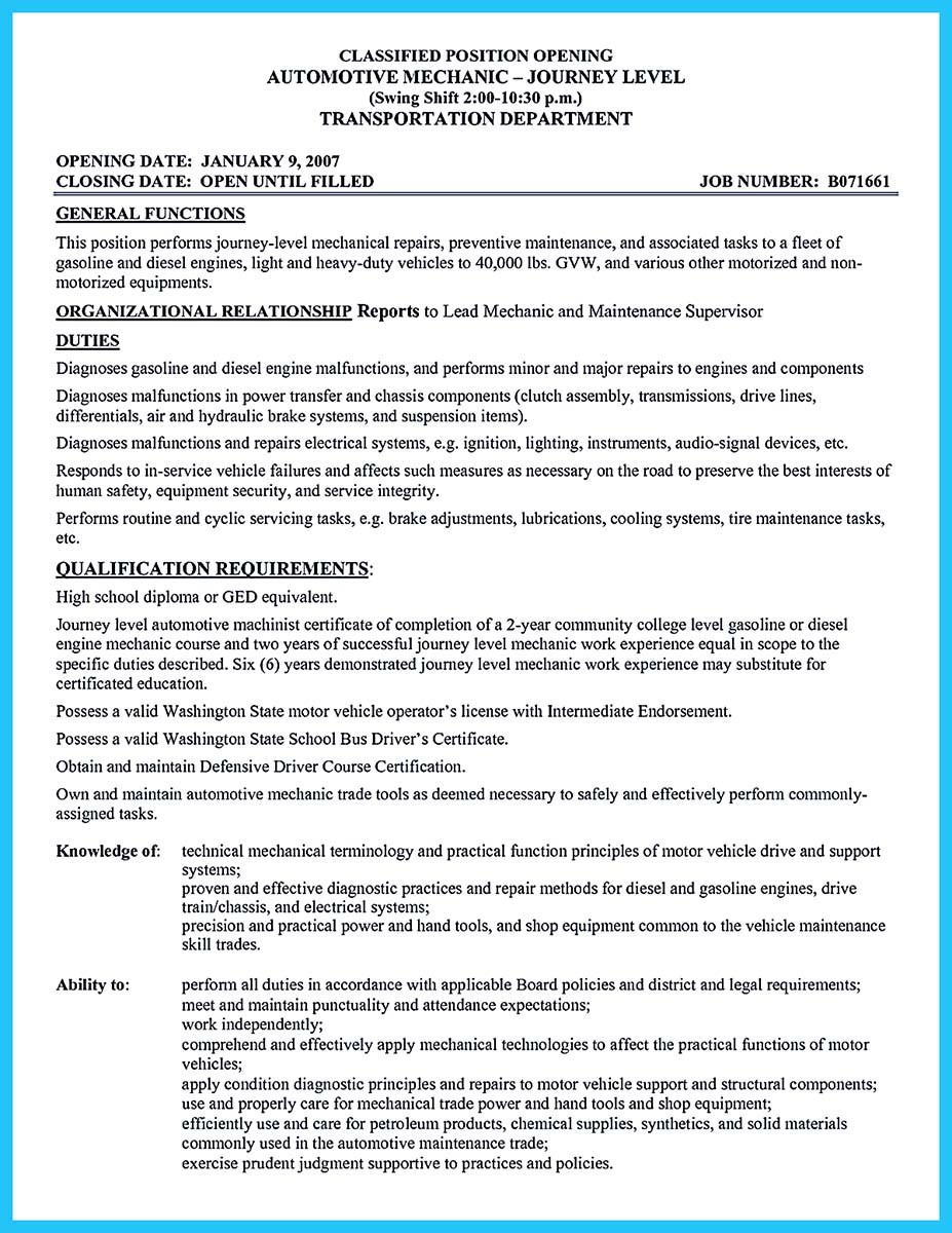 journeyman automotive technician resume_001
