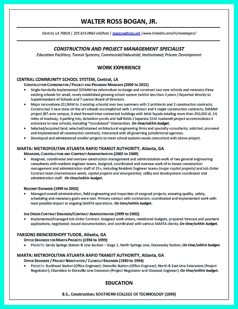 keywords for construction management resume