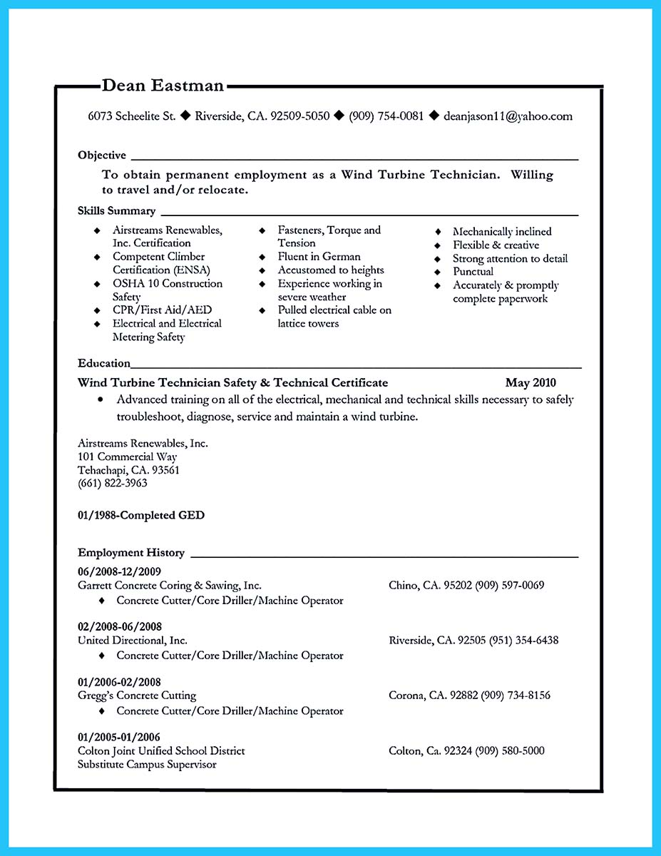 lead cable technician resume