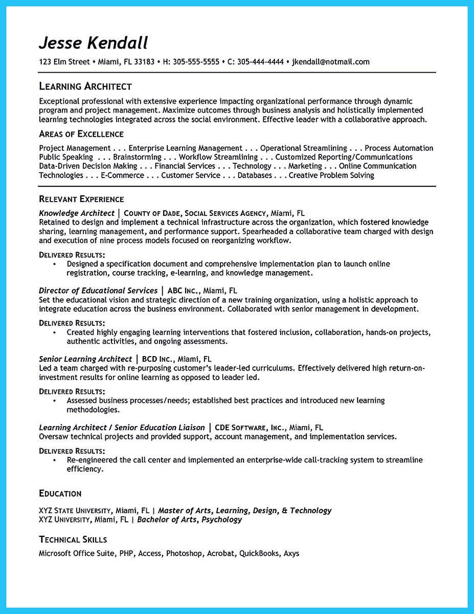 data architect sample resume