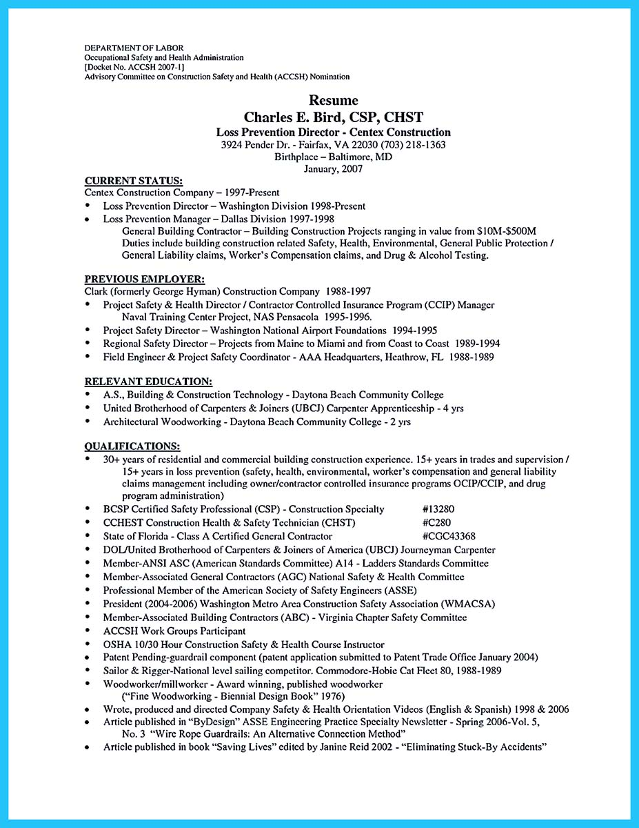licensed carpenter resume