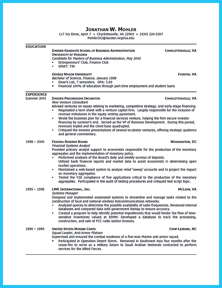 london business school resume format